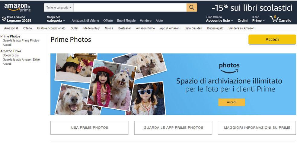 Backup foto smartphone con Amazon Prime Photos