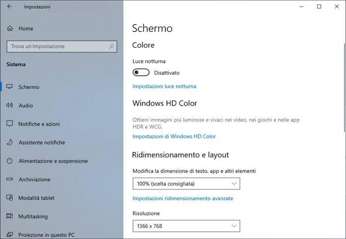 Windows 10 Luce Notturna
