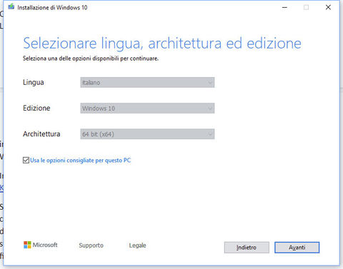 Windows 10 installare ISO