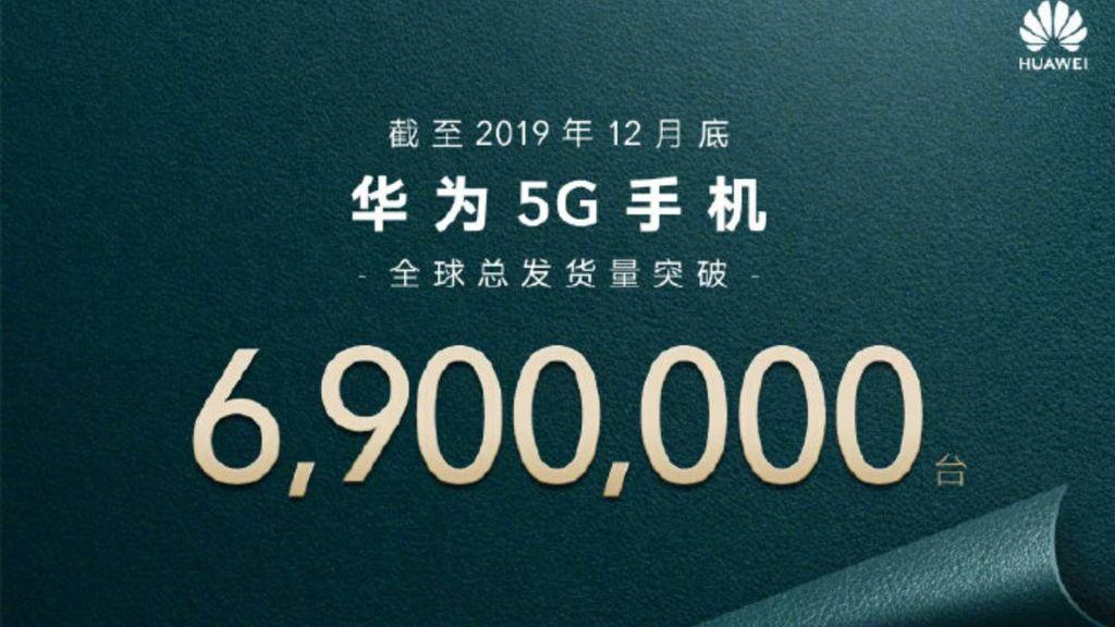 Huawe, raggiunti 6,9 milioni di smartphone 5G spediti.