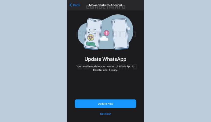 WhatsApp migrazione chat ios android