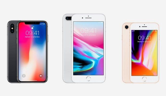 iPhone X iPhone 8 e iPhone 8 Plus