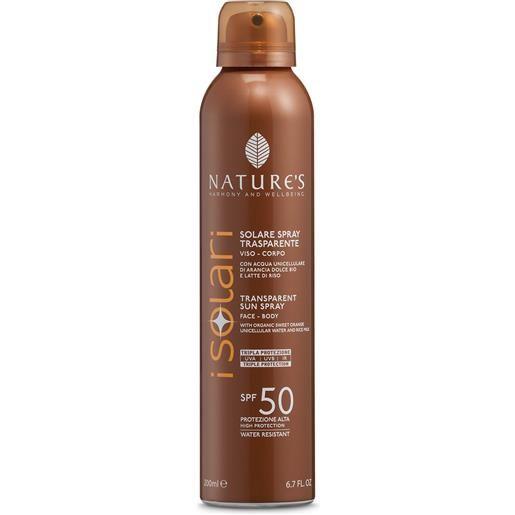 Nature's I Solari Spray Solare Trasparente SPF50
