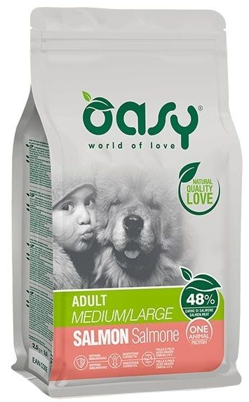 Oasy One Animal Protein Adult Medium&Large (Salmone) - secco