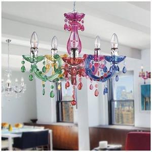 Fan Europe Houston lampadario acrilico multicolore 5 bracci