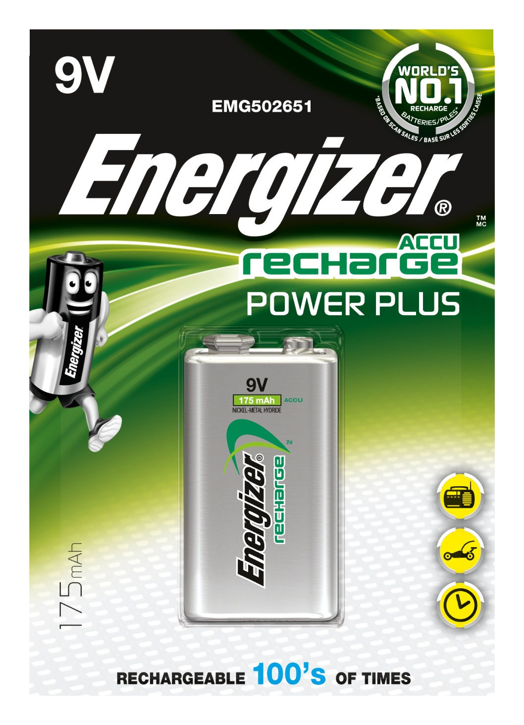 Energizer Accu Recharge Power Plus 9V (1 pz)