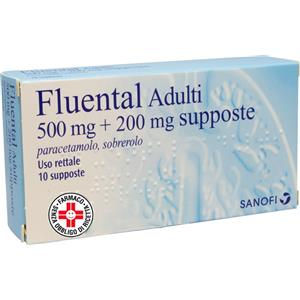Sanofi Fluental adulti 10supposte 500mg+200mg