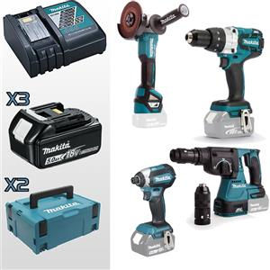Makita Kit DHP481 + DTD153 + DGA513 + DHR243