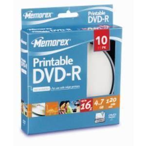 Memorex DVD+R 4,7 GB 16x (10 pcs cakebox) Printable