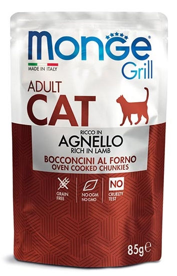 Monge Grill Adult Cat Bocconcini in Jelly Ricco in Agnello - umido
