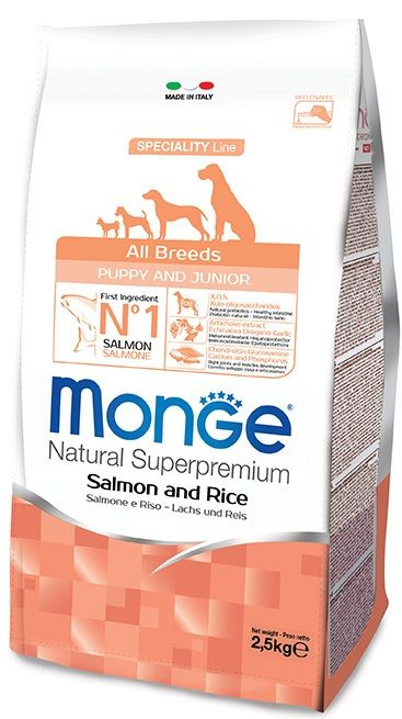 Monge Natural Superpremium Puppy & Junior Cani (Salmone, riso)