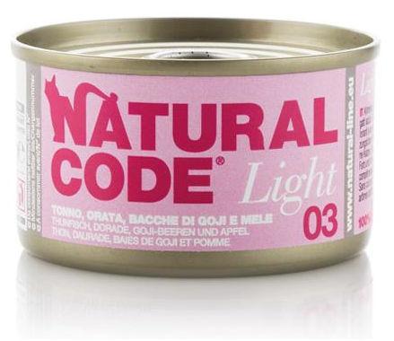 Natural Code 03 Light Tonno Orata Bacche di Goji e Mele per Gatto