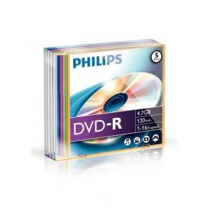 Philips DVD-R 4,7 GB 16x (5 pcs) Slim