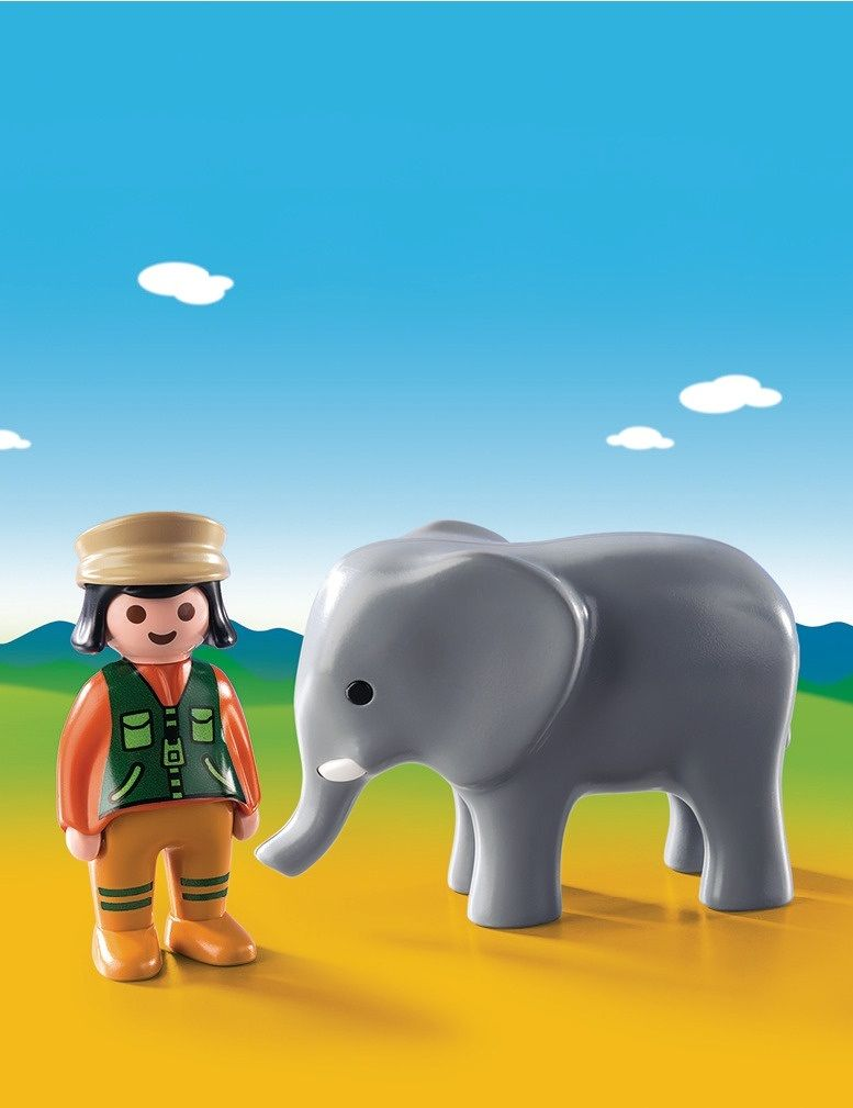 Playmobil 1.2.3 Custode dello zoo con elefante