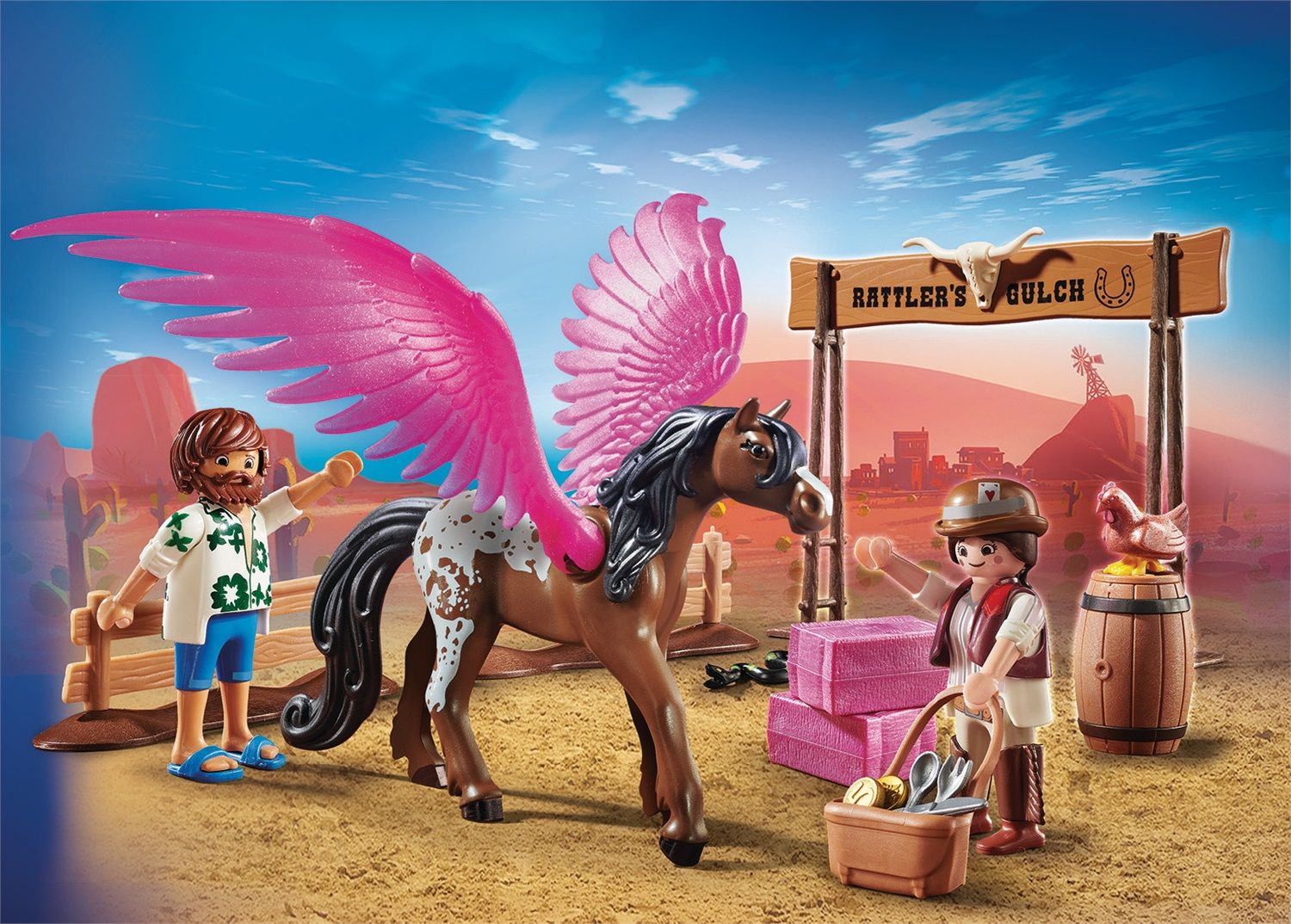 Playmobil The Movie Marla e Del con cavallo alato