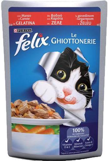 Purina Felix Le Ghiottonerie in gelatina (Manzo e Carote) - umido
