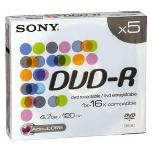 Sony DVD-R 4.7 GB 16x Slim (5 pcs)