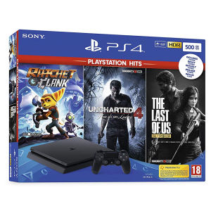 Sony PlayStation 4 (500 GB) + The Last of Us + Uncharted 4 + Ratchet & Clank