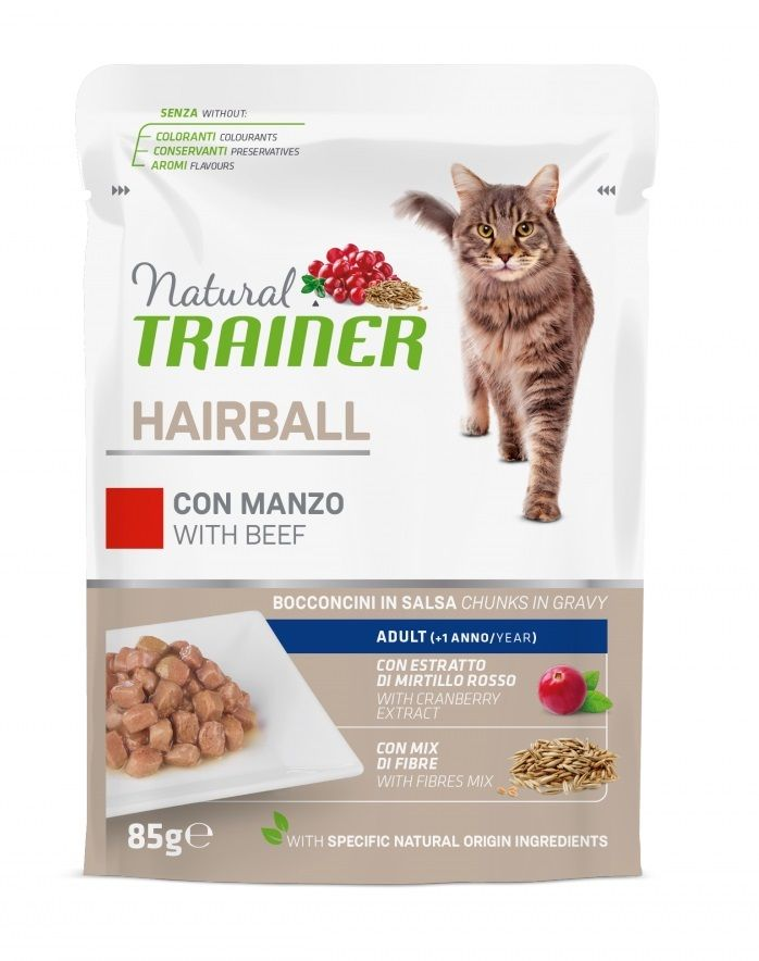 Trainer Natural Hairball Adult (Manzo) - umido 85g