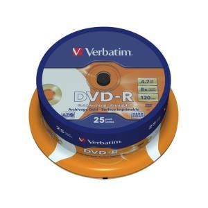 Verbatim Archival Grade DVD-R 4,7 GB 8x (25 pcs cakebox) Printable