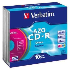 Verbatim AZO Colours CD-R 80 Min. 52x (10 pcs) Slim