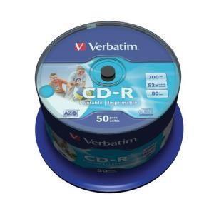 Verbatim azo printable cd r 80 min 52x 50 pcs cakebox
