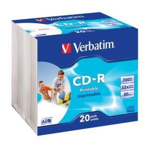 Verbatim AZO Printable CD-R 80 Min. 52x (20 pcs) Slim