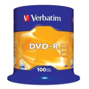 verbatim dvd r 4 7 gb 16x 100 pcs cakebox