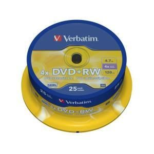 Verbatim DVD+RW 4.7 GB 4x (25 pcs Cakebox)